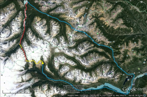 Chilcotin Bikerafting Trip Route